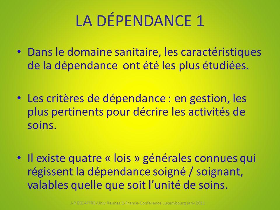 LA DÉPENDANCE 1 Dans le domaine sanitaire, les caractéristiques de la dépendance ont été les plus étudiées. Les critères de dépendance : en gestion, l