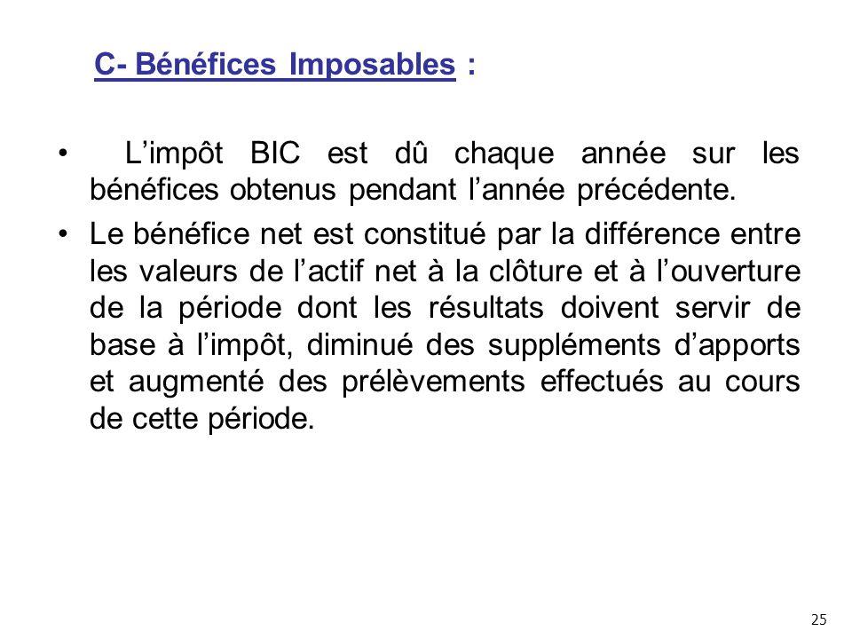 C- Bénéfices Imposables : L'impôt BIC est dû chaque année sur les bénéfices obtenus pendant l'année précédente.