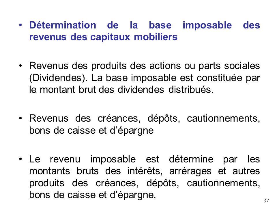 Détermination de la base imposable des revenus des capitaux mobiliers Revenus des produits des actions ou parts sociales (Dividendes).