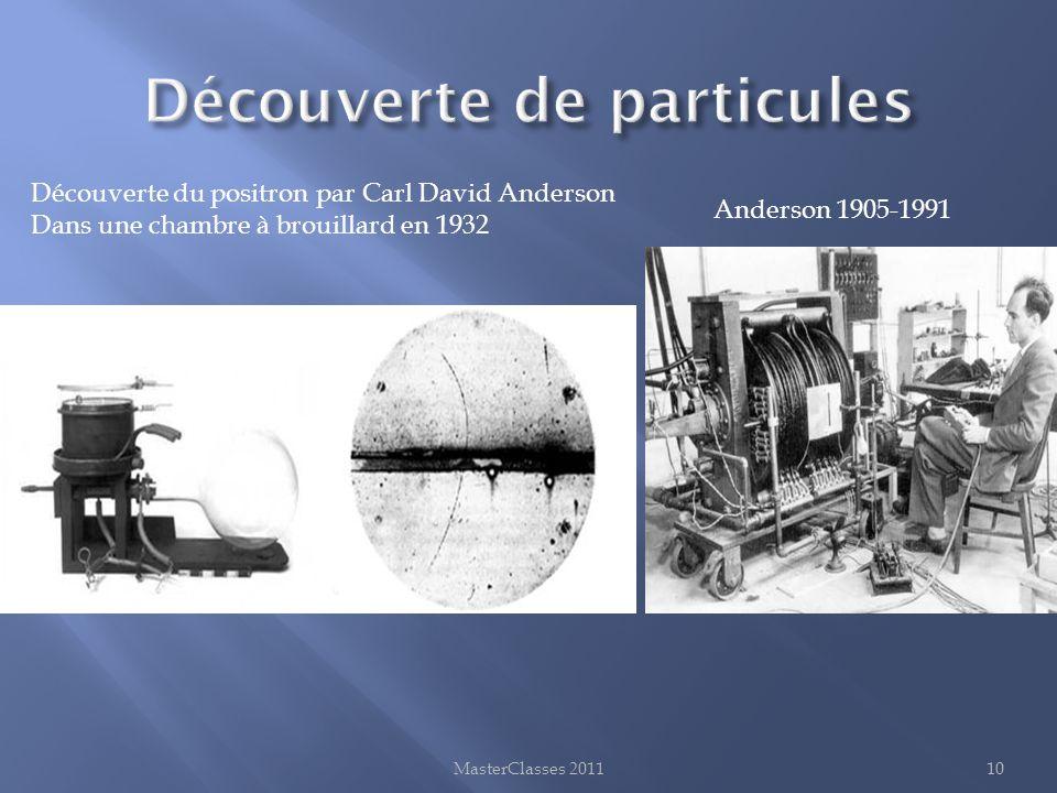 MasterClasses 201110 Découverte du positron par Carl David Anderson Dans une chambre à brouillard en 1932 Anderson 1905-1991