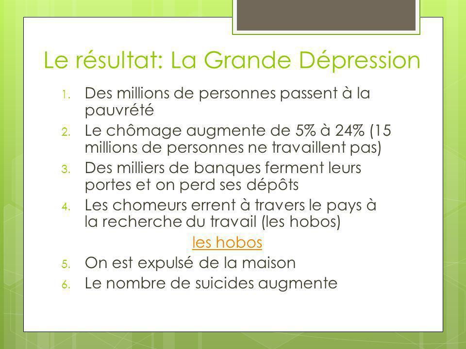 Le résultat: La Grande Dépression 1. Des millions de personnes passent à la pauvrété 2.