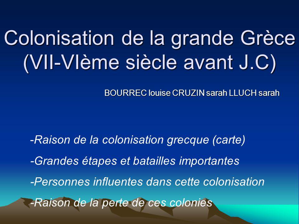 Colonisation de la grande Grèce (VII-VIème siècle avant J.C) BOURREC louise CRUZIN sarah LLUCH sarah -Raison de la colonisation grecque (carte) -Grand
