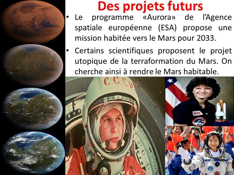 Des projets futurs Le programme «Aurora» de l'Agence spatiale européenne (ESA) propose une mission habitée vers le Mars pour 2033. Certains scientifiq