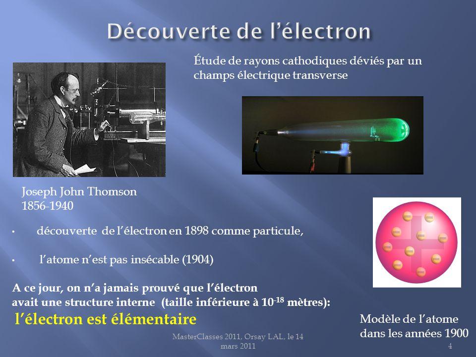 MasterClasses 2011, Orsay LAL, le 14 mars 20114 Joseph John Thomson 1856-1940 Étude de rayons cathodiques déviés par un champs électrique transverse découverte de l'électron en 1898 comme particule, l'atome n'est pas insécable (1904) A ce jour, on n'a jamais prouvé que l'électron avait une structure interne (taille inférieure à 10 -18 mètres): l'électron est élémentaire Modèle de l'atome dans les années 1900