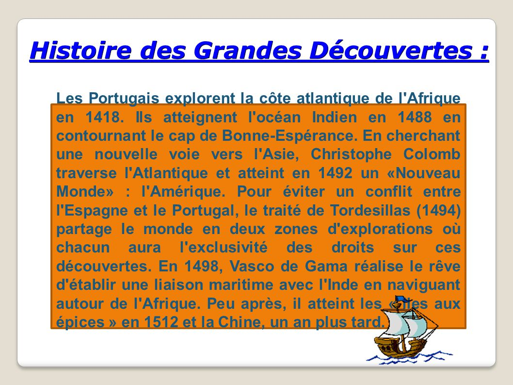 Histoire des Grandes Découvertes : Les Portugais explorent la côte atlantique de l'Afrique en 1418. Ils atteignent l'océan Indien en 1488 en contourna