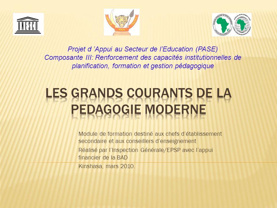 Module de formation destiné aux chefs d'établissement secondaire et aux conseillers d'enseignement Réalisé par l'Inspection Générale/EPSP avec l'appui financier de la BAD Kinshasa, mars 2010.