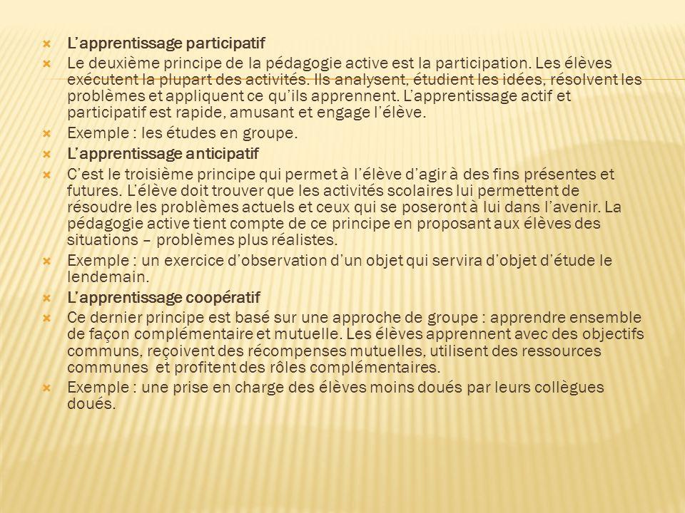  L'apprentissage participatif  Le deuxième principe de la pédagogie active est la participation.