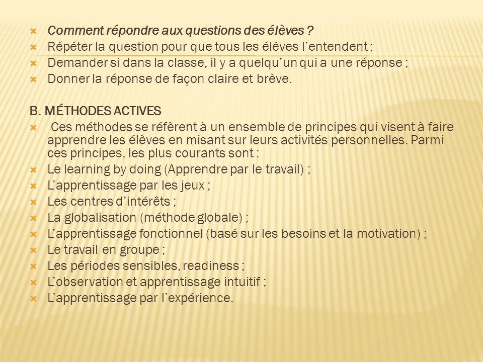 Comment répondre aux questions des élèves .