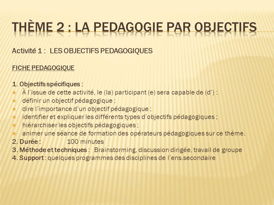 Activité 1 : LES OBJECTIFS PEDAGOGIQUES FICHE PEDAGOGIQUE 1. Objectifs spécifiques :  À l'issue de cette activité, le (la) participant (e) sera capab