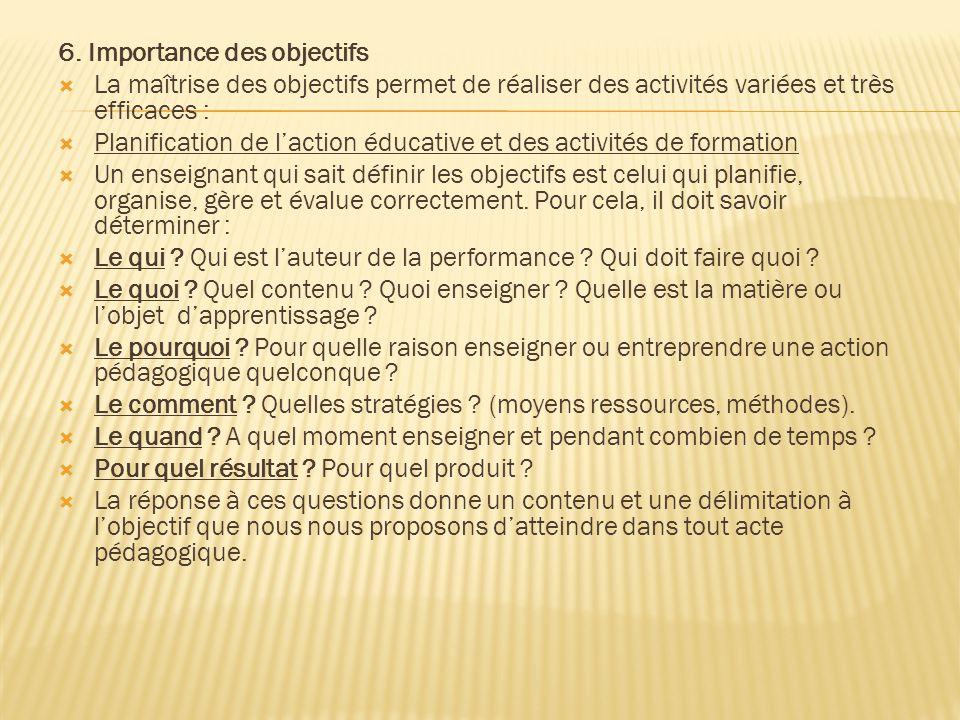 6. Importance des objectifs  La maîtrise des objectifs permet de réaliser des activités variées et très efficaces :  Planification de l'action éduca