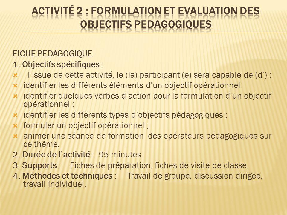 FICHE PEDAGOGIQUE 1. Objectifs spécifiques :  l'issue de cette activité, le (la) participant (e) sera capable de (d') :  identifier les différents é