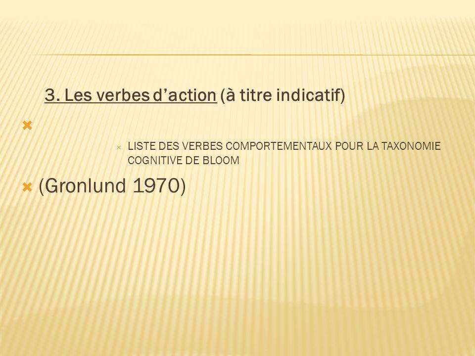 3. Les verbes d'action (à titre indicatif)   LISTE DES VERBES COMPORTEMENTAUX POUR LA TAXONOMIE COGNITIVE DE BLOOM  (Gronlund 1970)