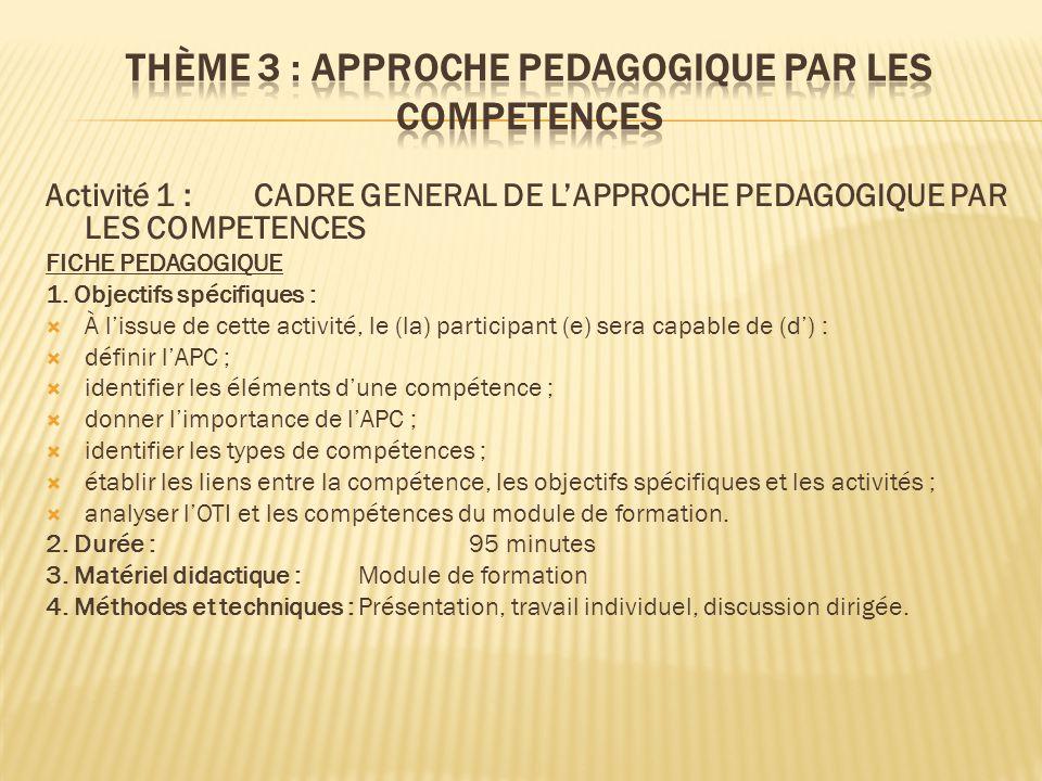 Activité 1 : CADRE GENERAL DE L'APPROCHE PEDAGOGIQUE PAR LES COMPETENCES FICHE PEDAGOGIQUE 1. Objectifs spécifiques :  À l'issue de cette activité, l
