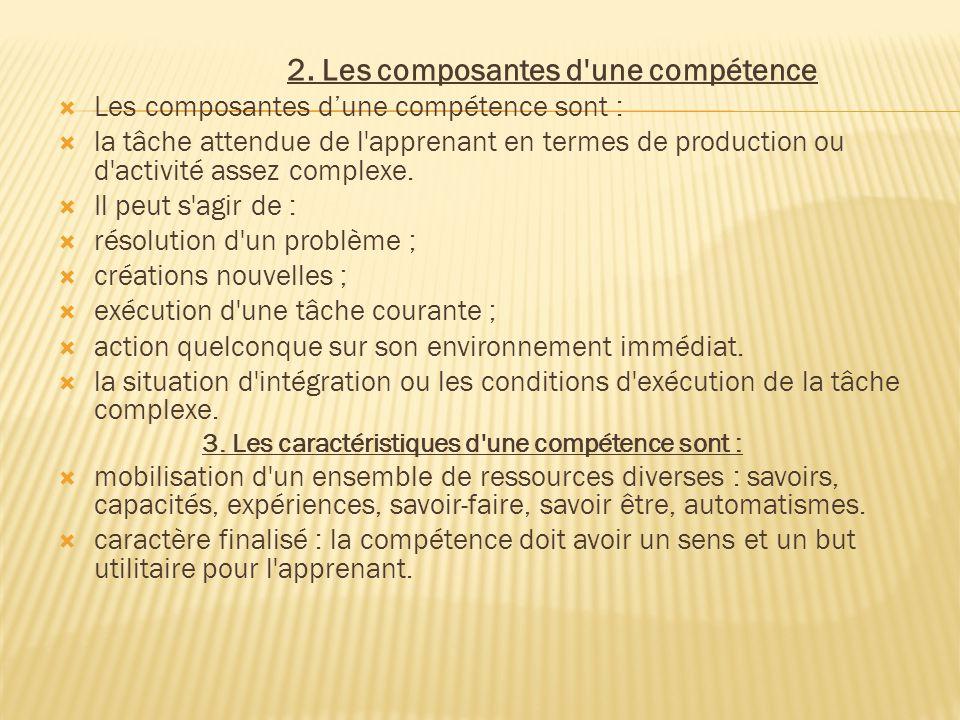 2. Les composantes d'une compétence  Les composantes d'une compétence sont :  la tâche attendue de l'apprenant en termes de production ou d'activité