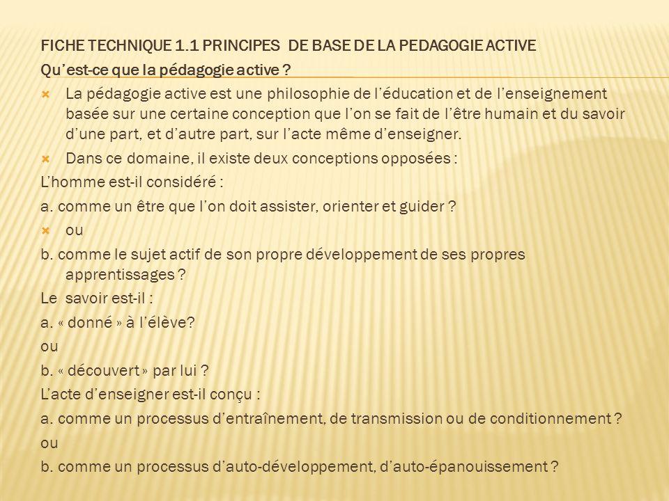 FICHE TECHNIQUE 1.1 PRINCIPES DE BASE DE LA PEDAGOGIE ACTIVE Qu'est-ce que la pédagogie active ?  La pédagogie active est une philosophie de l'éducat