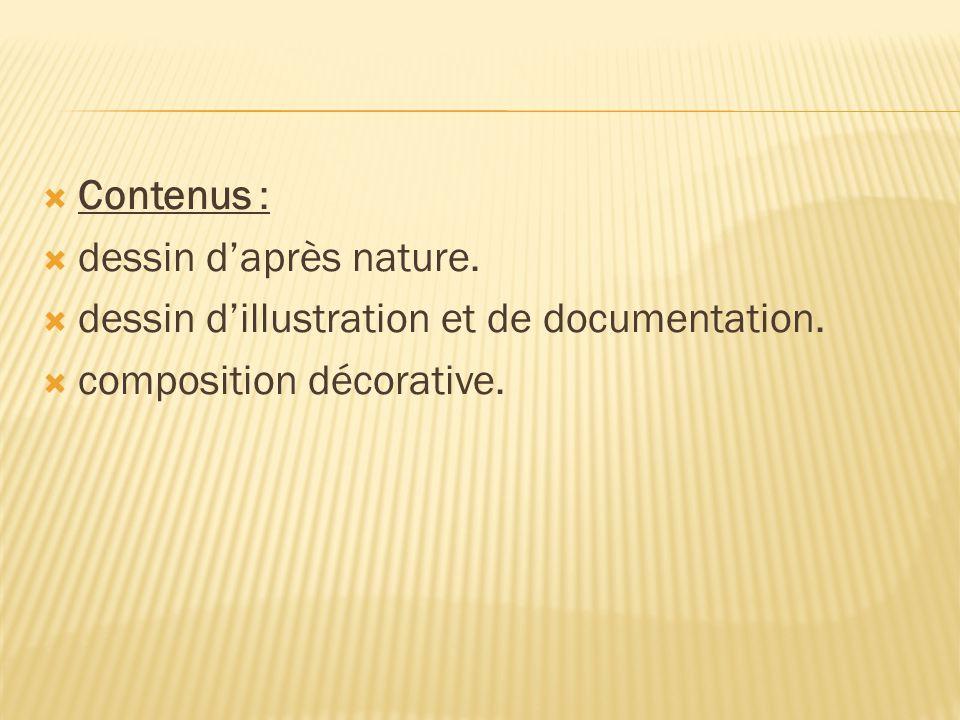  Contenus :  dessin d'après nature.  dessin d'illustration et de documentation.  composition décorative.