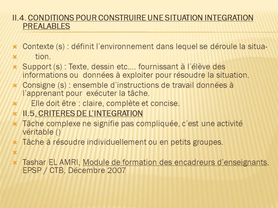 II.4. CONDITIONS POUR CONSTRUIRE UNE SITUATION INTEGRATION PREALABLES  Contexte (s) : définit l'environnement dans lequel se déroule la situa-  tion