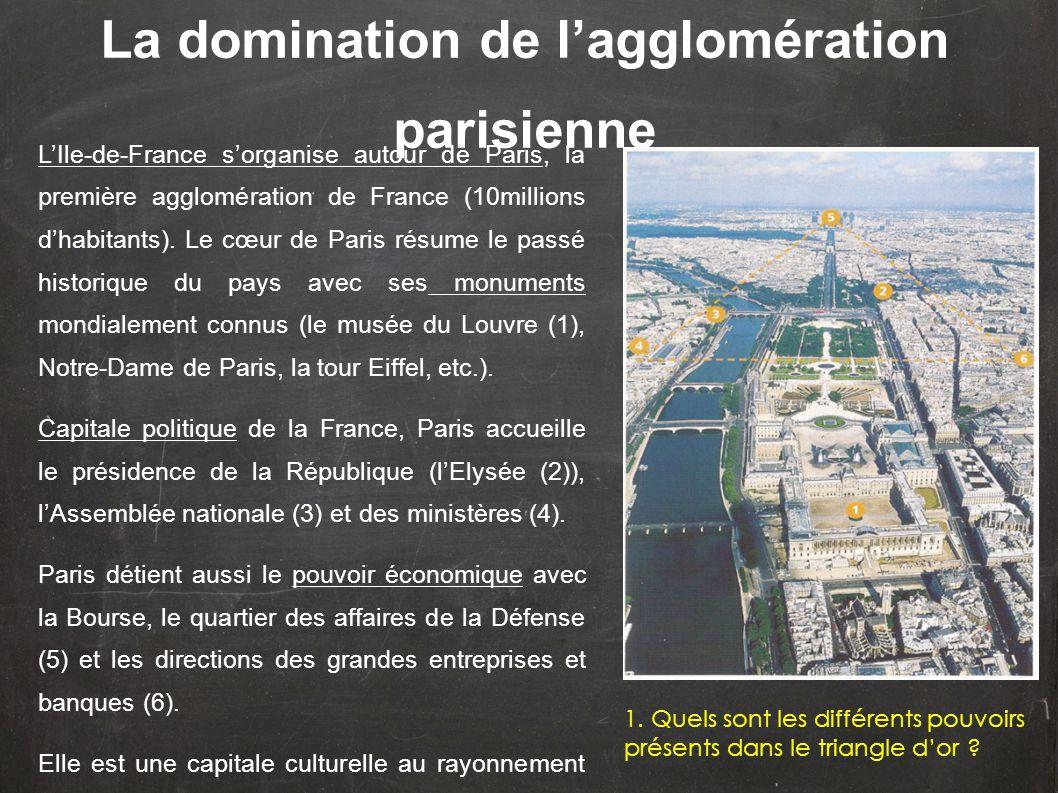 L'Ile-de-France s'organise autour de Paris, la première agglomération de France (10millions d'habitants). Le cœur de Paris résume le passé historique