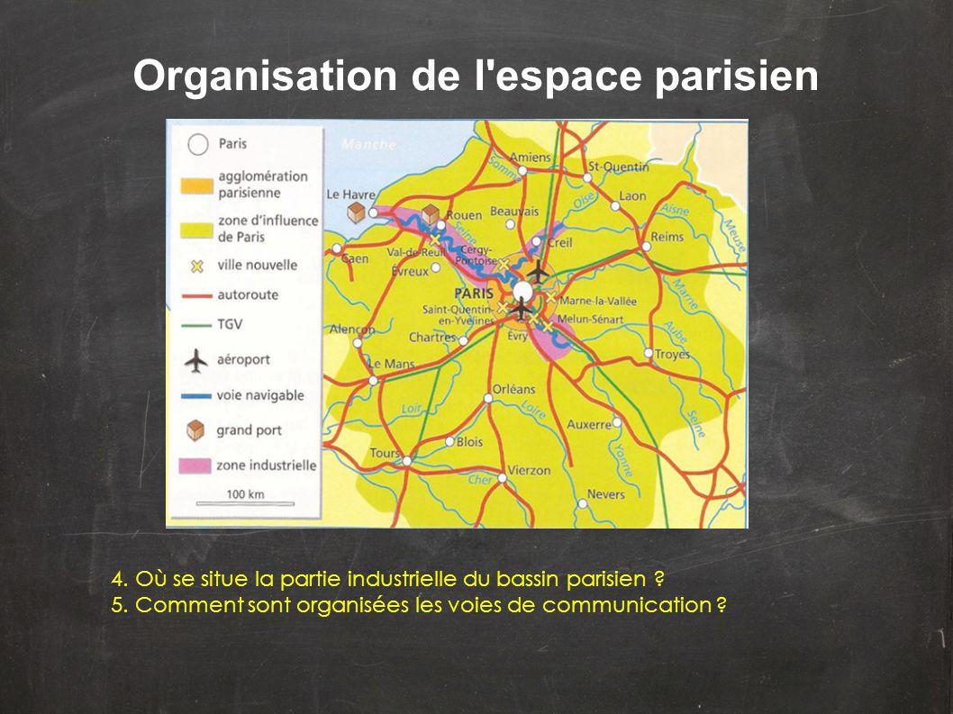 Organisation de l'espace parisien 4. Où se situe la partie industrielle du bassin parisien ? 5. Comment sont organisées les voies de communication ?