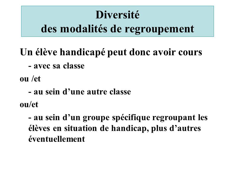 Diversité des modalités de regroupement Un élève handicapé peut donc avoir cours - avec sa classe ou /et - au sein d'une autre classe ou/et - au sein