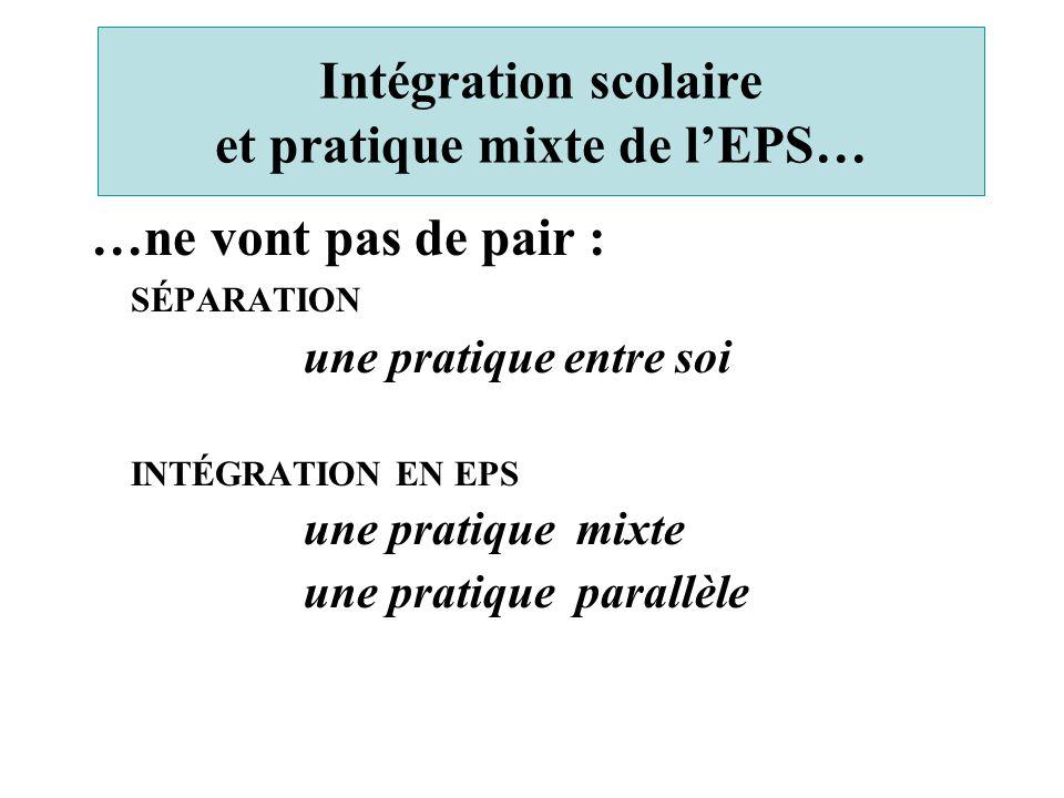 Intégration scolaire et pratique mixte de l'EPS… …ne vont pas de pair : SÉPARATION une pratique entre soi INTÉGRATION EN EPS une pratique mixte une pr