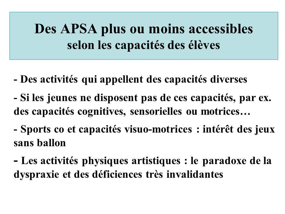- Des activités qui appellent des capacités diverses - Si les jeunes ne disposent pas de ces capacités, par ex. des capacités cognitives, sensorielles