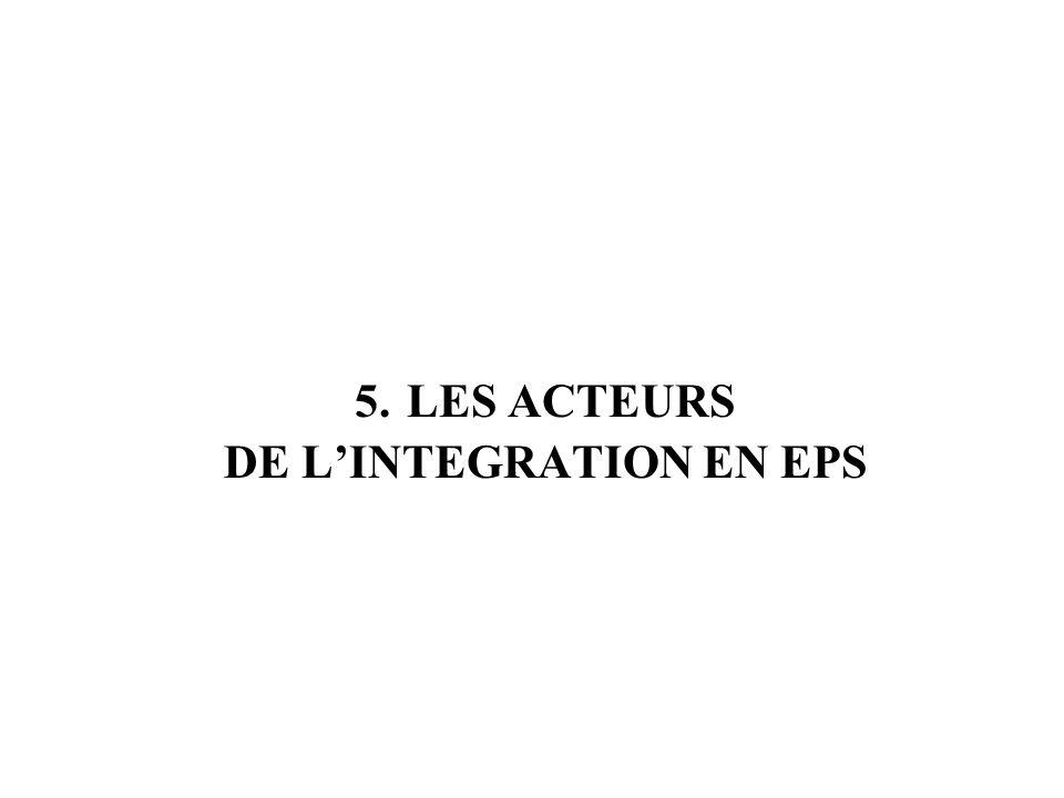 5. LES ACTEURS DE L'INTEGRATION EN EPS