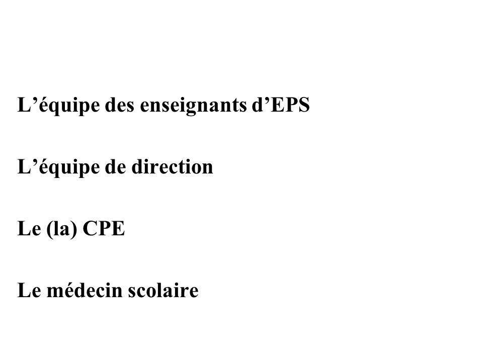 L'équipe des enseignants d'EPS L'équipe de direction Le (la) CPE Le médecin scolaire