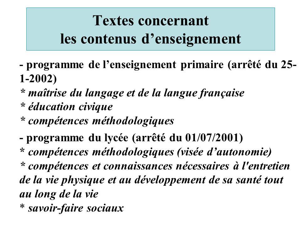 Textes concernant les contenus d'enseignement - programme de l'enseignement primaire (arrêté du 25- 1-2002) * maîtrise du langage et de la langue fran