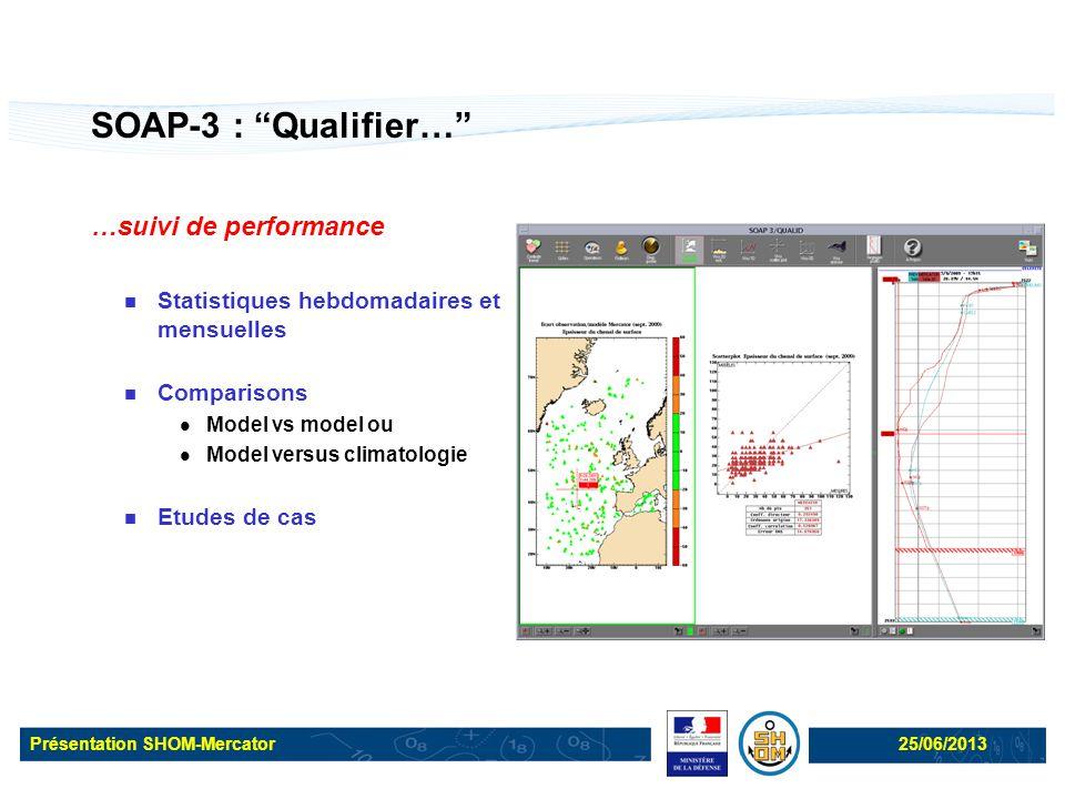 """Présentation SHOM-Mercator25/06/2013 SOAP-3 : """"Qualifier…"""" …suivi de performance Statistiques hebdomadaires et mensuelles Comparisons Model vs model o"""