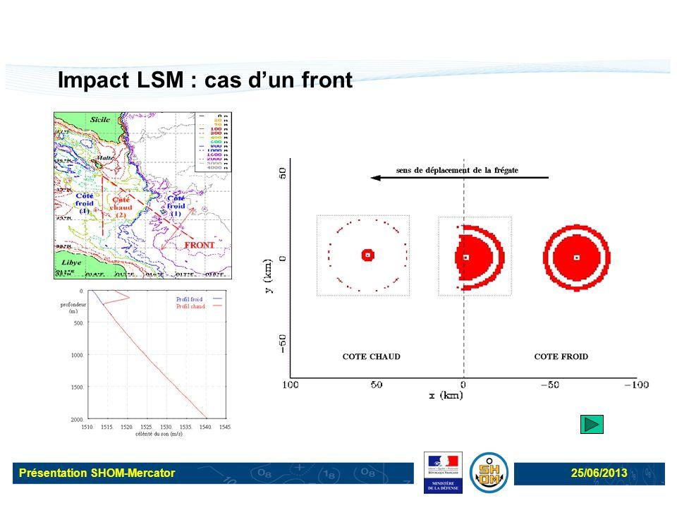 Présentation SHOM-Mercator25/06/2013 Impact LSM : cas d'un front