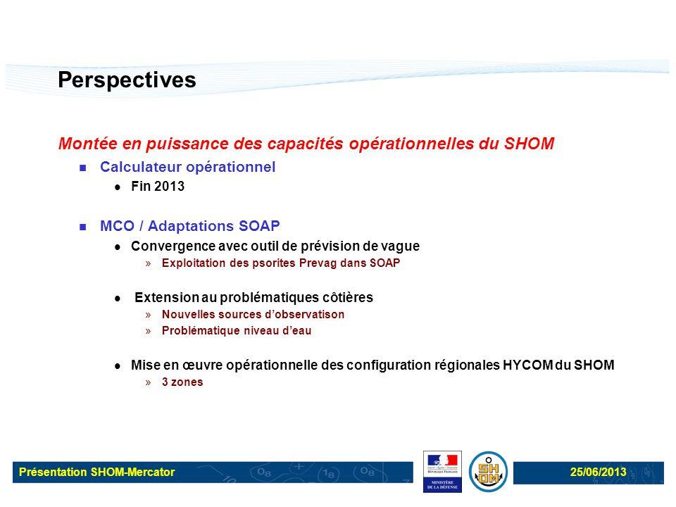 Présentation SHOM-Mercator25/06/2013 Perspectives Montée en puissance des capacités opérationnelles du SHOM Calculateur opérationnel Fin 2013 MCO / Ad