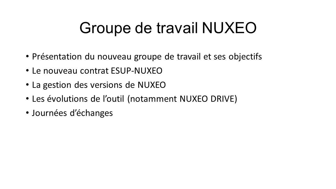 Groupe de travail NUXEO Présentation du nouveau groupe de travail Une liste de diffusion unique gt-nuxeo@esup-portail.orggt-nuxeo@esup-portail.org A ce jour 46 abonnés qui représente environ 35 établissements.