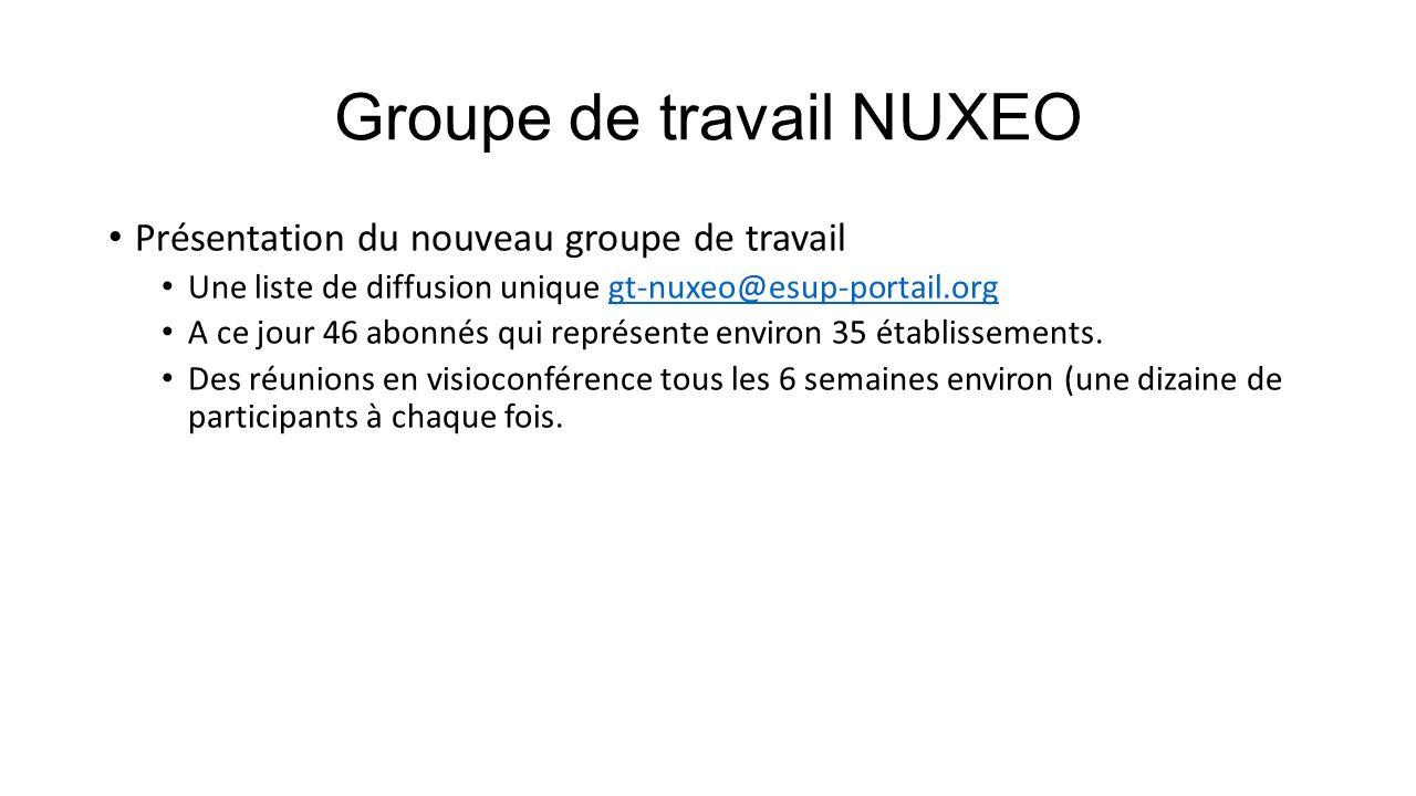 Groupe de travail NUXEO Présentation du nouveau groupe de travail Une liste de diffusion unique gt-nuxeo@esup-portail.orggt-nuxeo@esup-portail.org A c