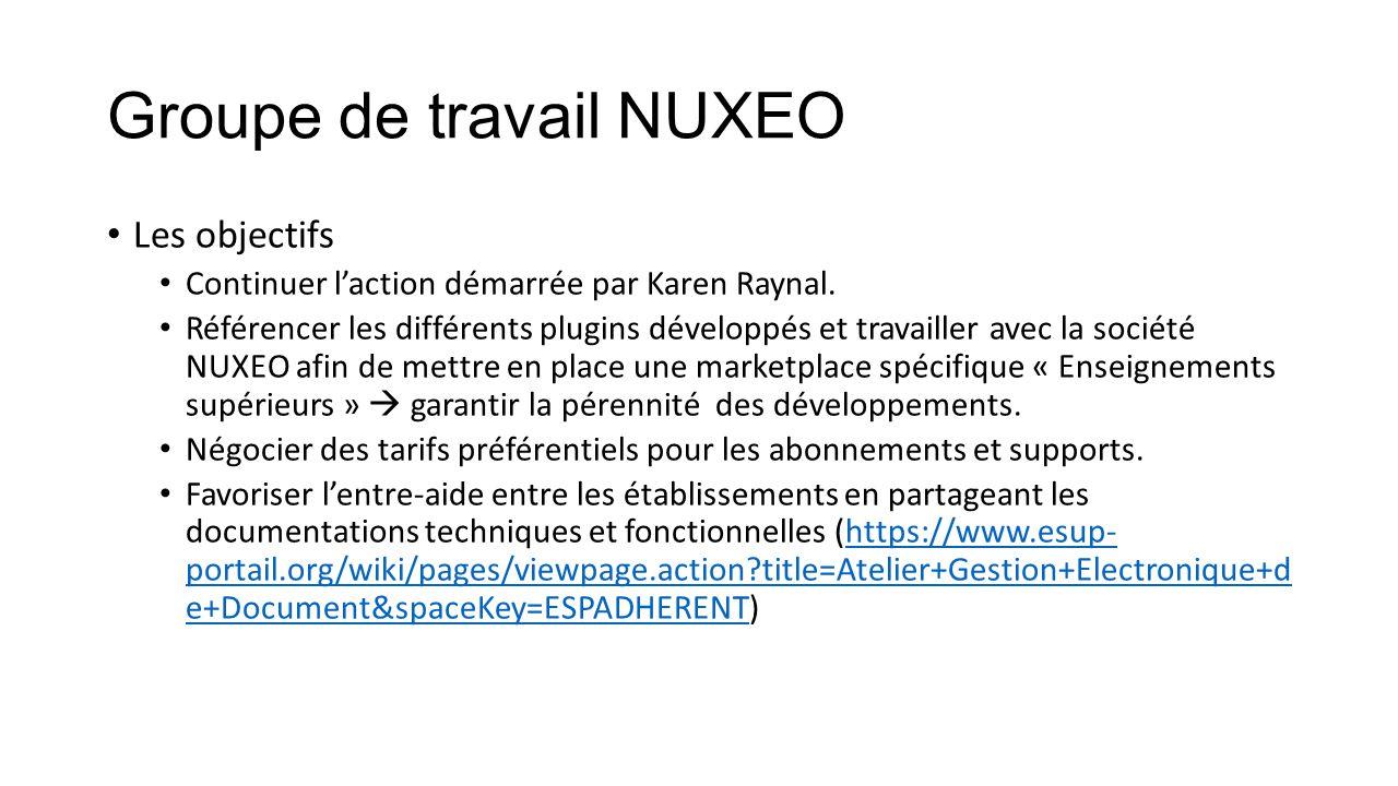 Groupe de travail NUXEO Les objectifs Continuer l'action démarrée par Karen Raynal. Référencer les différents plugins développés et travailler avec la
