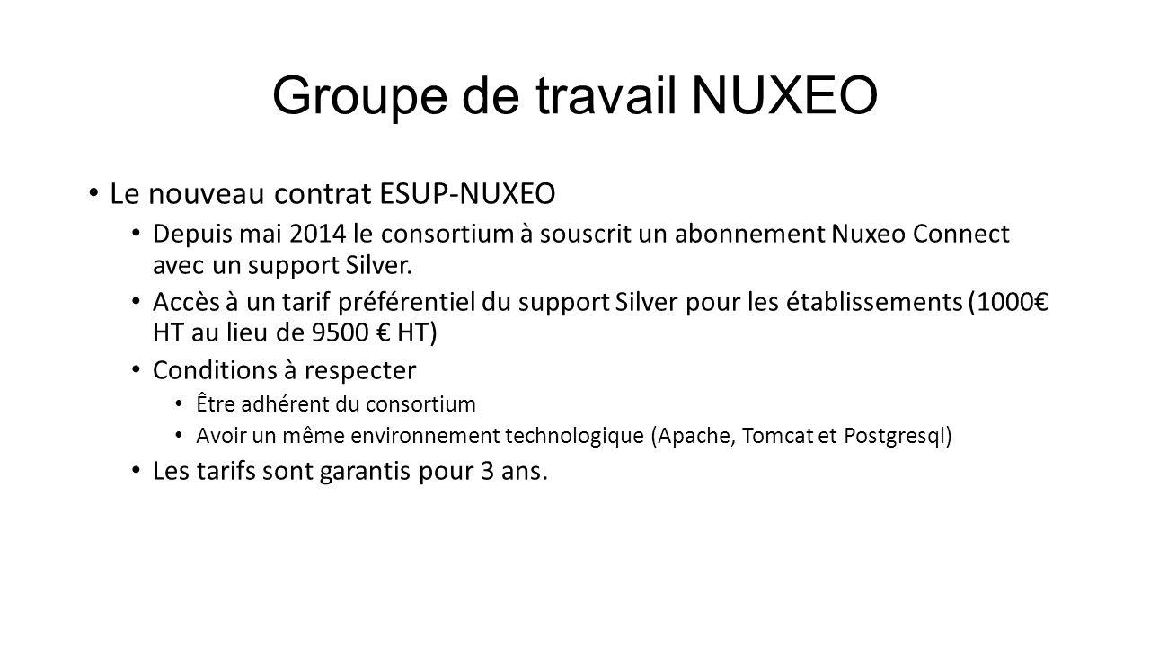 Groupe de travail NUXEO Le nouveau contrat ESUP-NUXEO Depuis mai 2014 le consortium à souscrit un abonnement Nuxeo Connect avec un support Silver. Acc