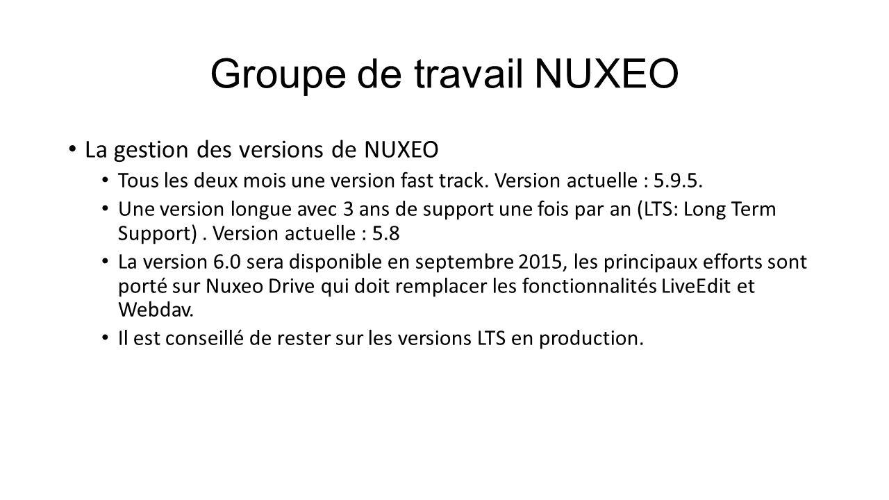 Groupe de travail NUXEO La gestion des versions de NUXEO Tous les deux mois une version fast track. Version actuelle : 5.9.5. Une version longue avec