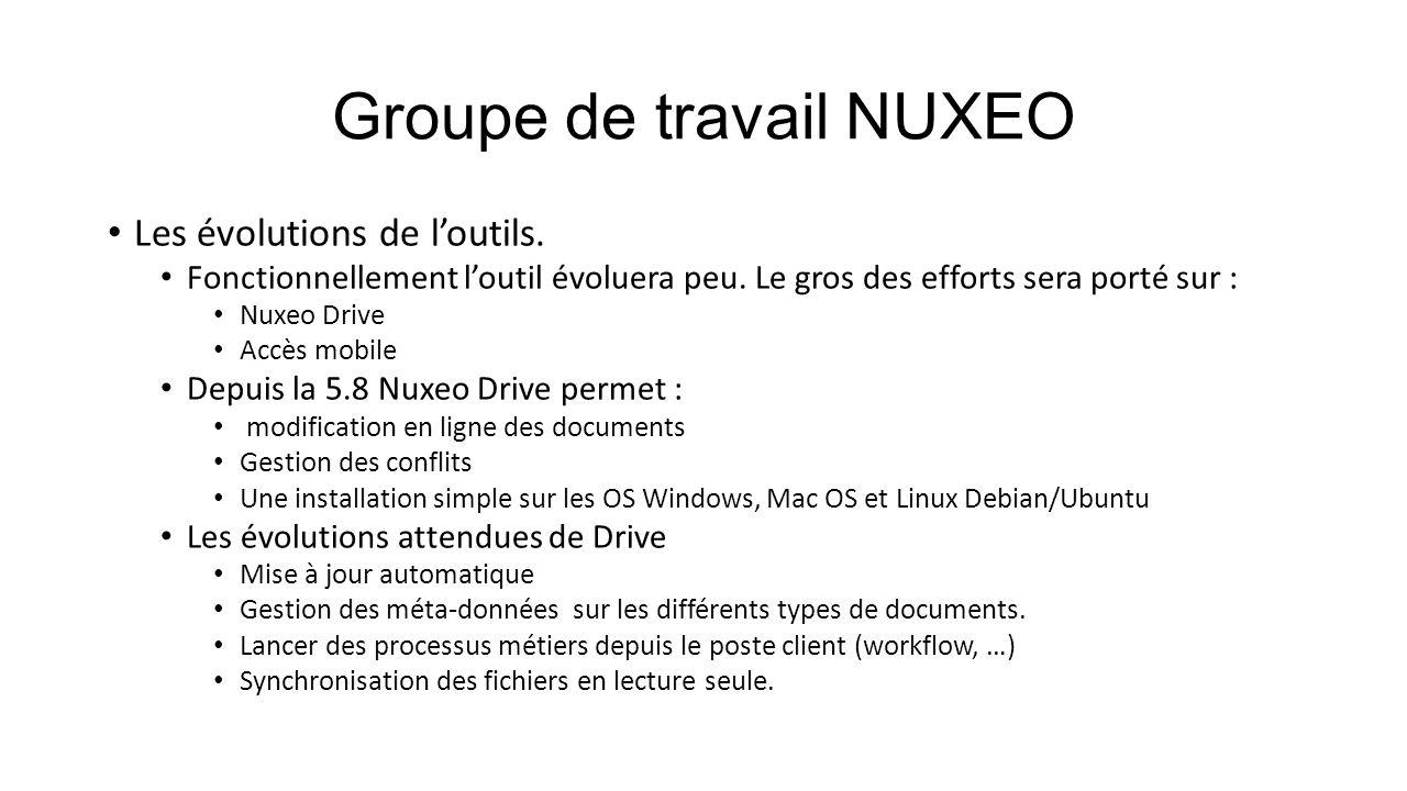 Groupe de travail NUXEO Les évolutions de l'outils. Fonctionnellement l'outil évoluera peu. Le gros des efforts sera porté sur : Nuxeo Drive Accès mob