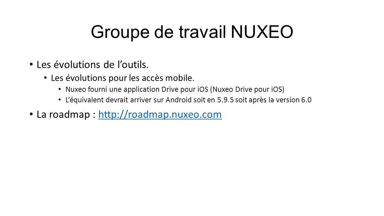 Groupe de travail NUXEO Les évolutions de l'outils. Les évolutions pour les accès mobile. Nuxeo fourni une application Drive pour iOS (Nuxeo Drive pou