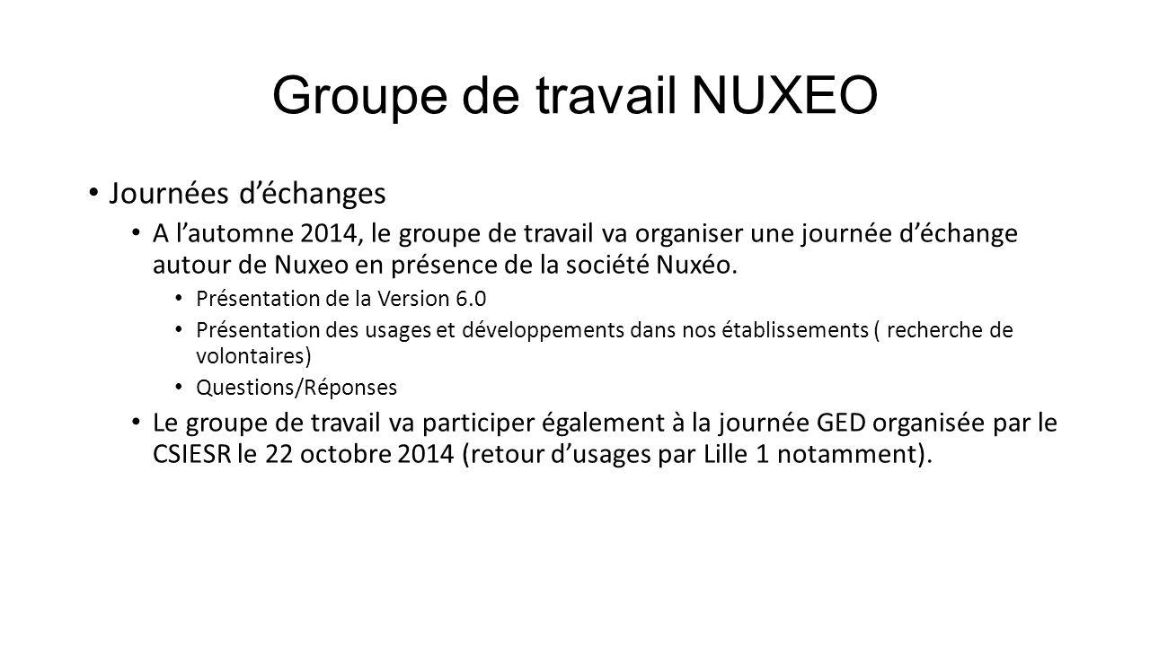 Groupe de travail NUXEO Journées d'échanges A l'automne 2014, le groupe de travail va organiser une journée d'échange autour de Nuxeo en présence de l