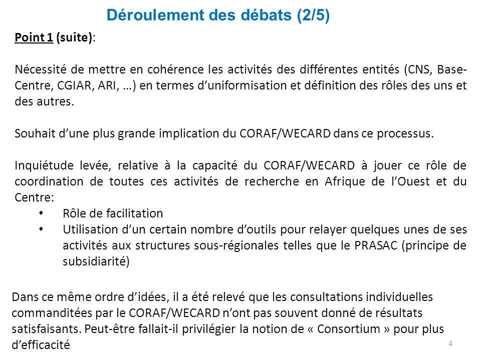Déroulement des débats (2/5) 4 Point 1 (suite): Nécessité de mettre en cohérence les activités des différentes entités (CNS, Base- Centre, CGIAR, ARI,