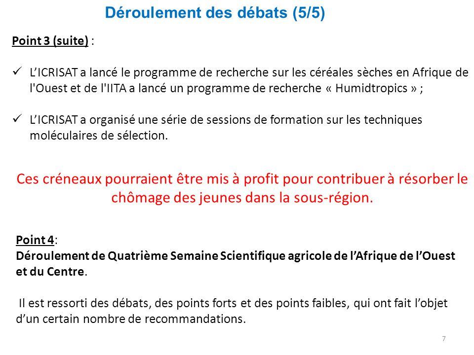 Déroulement des débats (5/5) 7 Point 3 (suite) : L'ICRISAT a lancé le programme de recherche sur les céréales sèches en Afrique de l'Ouest et de l'IIT
