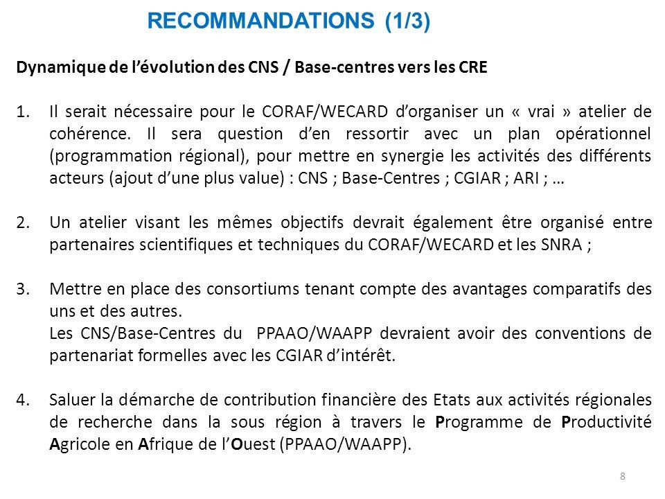 RECOMMANDATIONS (1/3) 8 Dynamique de l'évolution des CNS / Base-centres vers les CRE 1.Il serait nécessaire pour le CORAF/WECARD d'organiser un « vrai