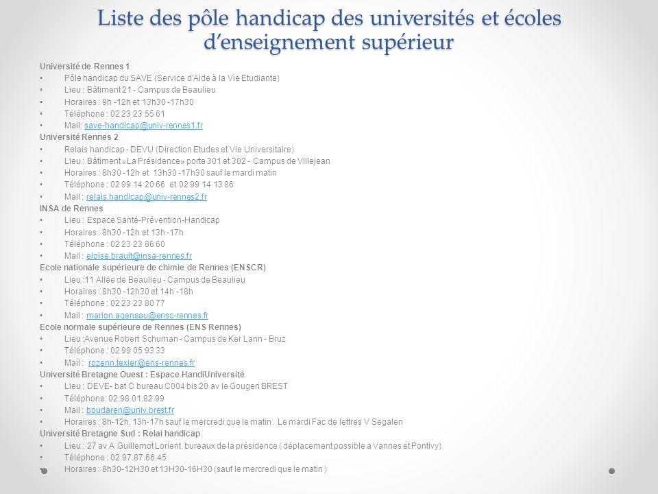 Liste des pôle handicap des universités et écoles d'enseignement supérieur Université de Rennes 1 Pôle handicap du SAVE (Service d'Aide à la Vie Etudi