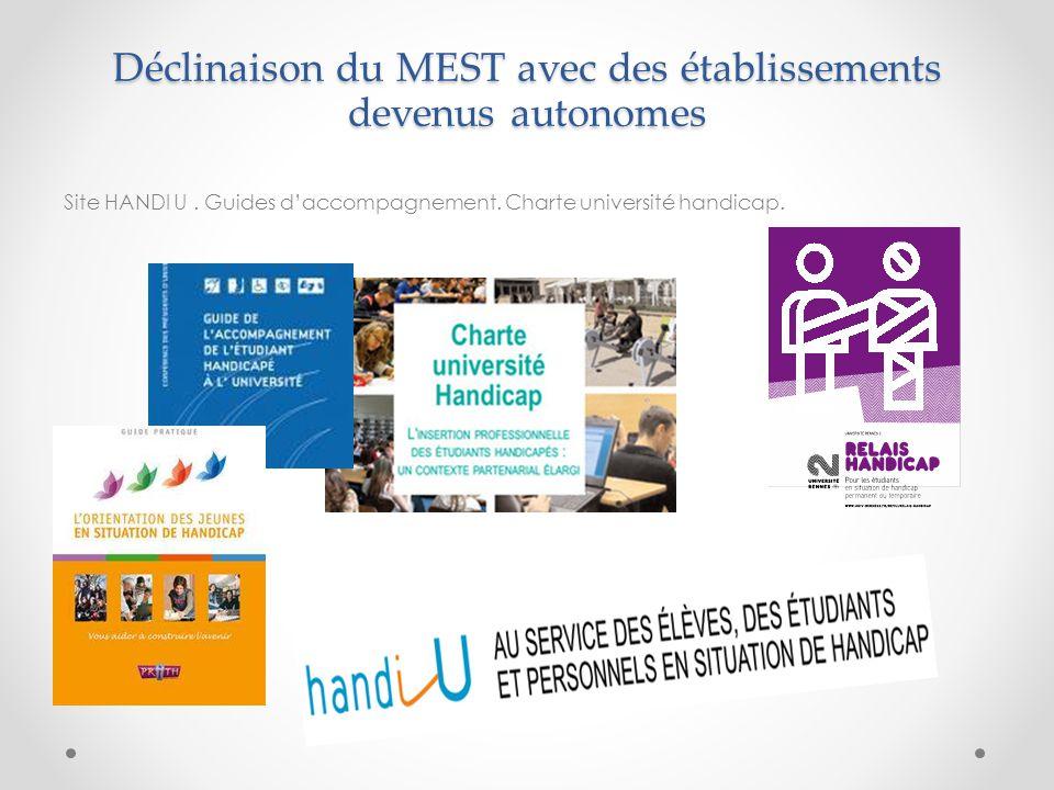 Déclinaison du MEST avec des établissements devenus autonomes Site HANDI U. Guides d'accompagnement. Charte université handicap.