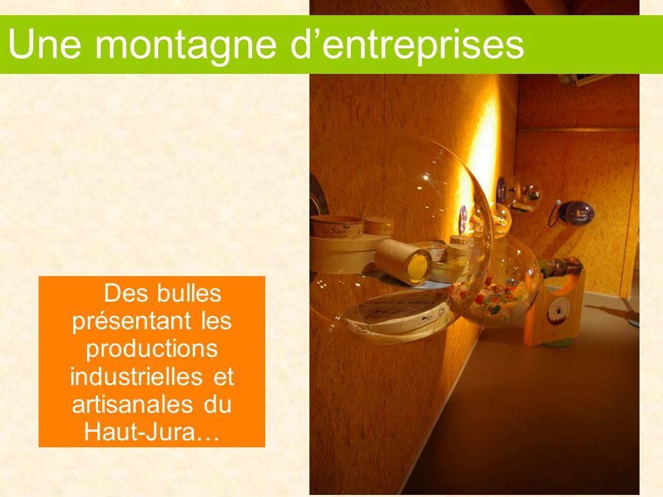 Des bulles présentant les productions industrielles et artisanales du Haut-Jura… Une montagne d'entreprises