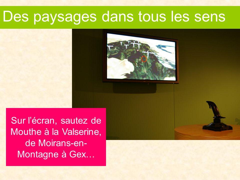 Sur l'écran, sautez de Mouthe à la Valserine, de Moirans-en- Montagne à Gex… Des sensations plein les paysages Des paysages dans tous les sens
