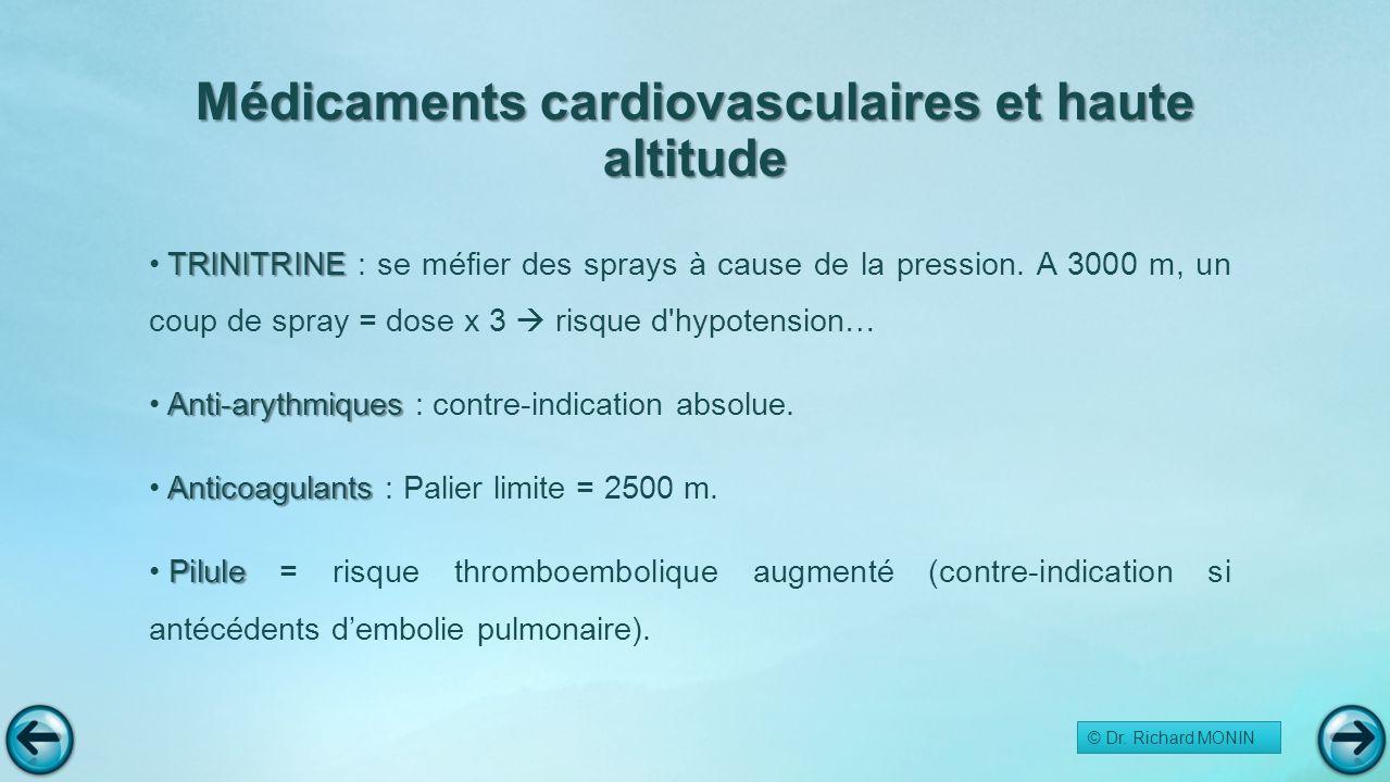 Médicaments cardiovasculaires et haute altitude TRINITRINE TRINITRINE : se méfier des sprays à cause de la pression. A 3000 m, un coup de spray = dose