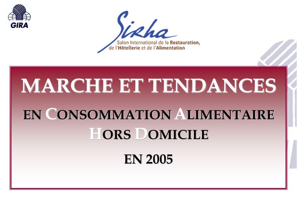 MARCHE ET TENDANCES EN C ONSOMMATION A LIMENTAIRE H ORS D OMICILE EN 2005