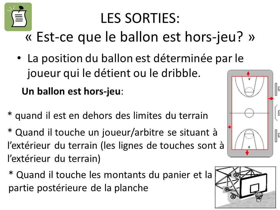 LES SORTIES: « Est-ce que le ballon est hors-jeu? » La position du ballon est déterminée par le joueur qui le détient ou le dribble. Un ballon est hor